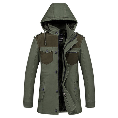 Hooded winter warm fleece trench coat mens overcoat cotton patchwork fitness men trenchcoat single breasted windbreaker big size