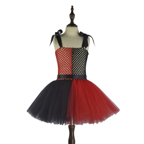 Halloween Kids Clown Dresses Inspired Red Black Girls Tutu Dress Party Show Pattern Costume Holiday Clothing Halloween Costumes