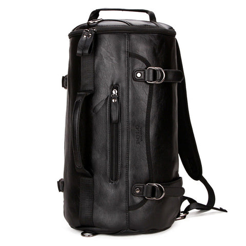 Leather Men Fashion Travel Cylinder Travel Round Bucket Shape Handle Bag Shoulder Messenger Bag for Male Black XA80WC