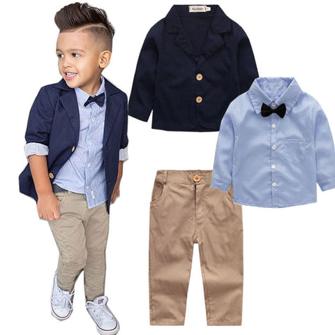 Boys Autumn New Gentleman Suit Jacket + Shirt + Pants 3 Pieces Coat Long Sleeve Top Cardigan Set