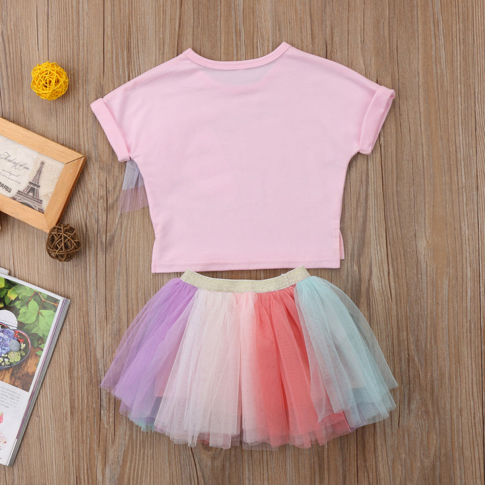 f38c30796b3f0 Emmababy Toddler Baby Clothing 2Pcs Set Kids Baby Girls Short Unicorn  T-shirt Tops+Lace Mini Skirt Outfits Clothes Summer 6M-5T