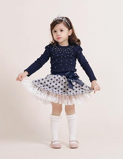 Autumn kids Clothes Girls Clothing Set Navy Blue Short Jacket and Skirts Suits Children Formal School Uniform