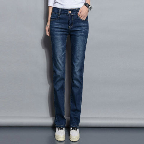 Straight Jeans Woman New Spring Autumn Fashion Casual Washed Blue High Waist Denim Trousers Jean Femme