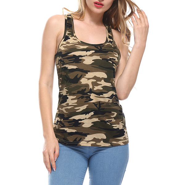 Women's Summer Tank Tops Camouflage Round Neck Sleeveless Female Blouses Streetwear Casual Vest Fitness Clothing