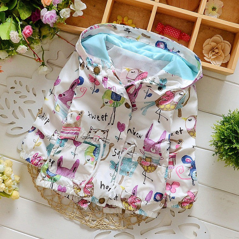 Newly arrived fashion baby girls clothes Flowers Lollipops jackets for casual style outwear with hooded children's  jacket