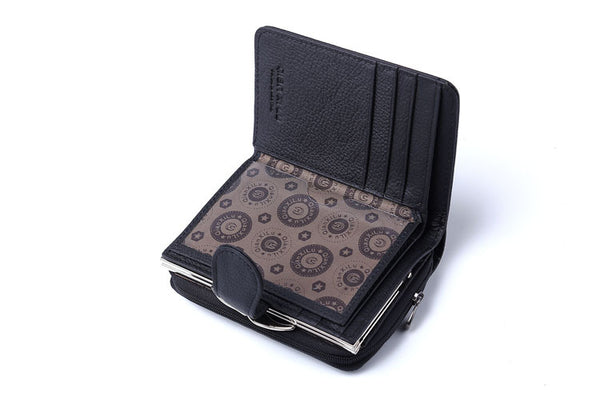 Women Wallets Genuine Leather Wallet High Quality Zipper and Hasp Coin Purse Cow Leather Female Purses Pocket Card Holder