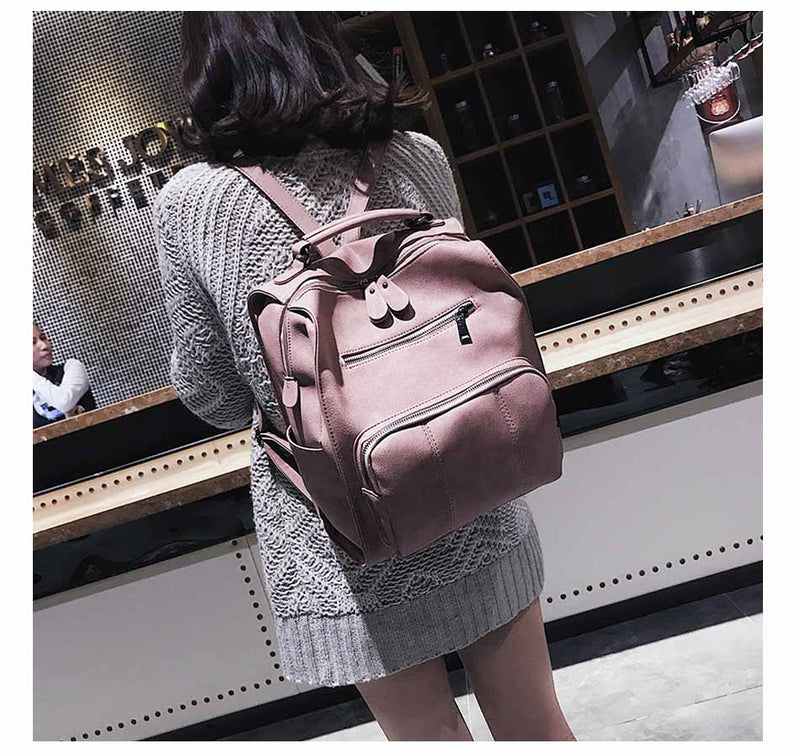 Women Leather Backpack Female Teenage Girls Backpacks Vintage Large Multifunction Mochila Solid Shoulder Bag Black XA528H