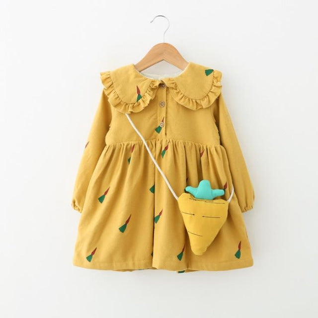 kids girls dress Winter warm clothing baby cotton fleece dresses for girl children carrot print 6 Year fashion costume Clearance