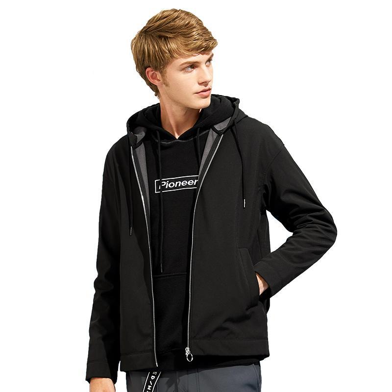 softshell waterproof jacket coat men brand-clothing hooded black fleece warm coat male windbreaker AJK702376