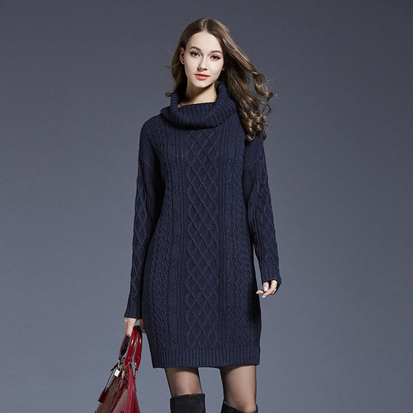 Women Fashion Turtleneck Thick Sweater Dresses Plus Size Casual Sexy Knitted Cotton Autumn Winter Dress Vestidos