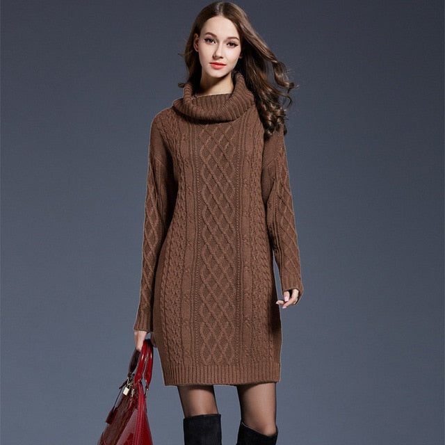 275e11d1c1 ... Women Fashion Turtleneck Thick Sweater Dresses Plus Size Casual Sexy  Knitted Cotton Autumn Winter Dress Vestidos ...