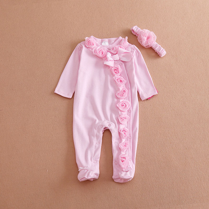 c70c909cdbcfc Princess Style Newborn Baby Girl Clothes Bow/Flowers Romper Clothing Set  Jumpsuit & Headband 2 PC Cute Infant Cirls Rompers