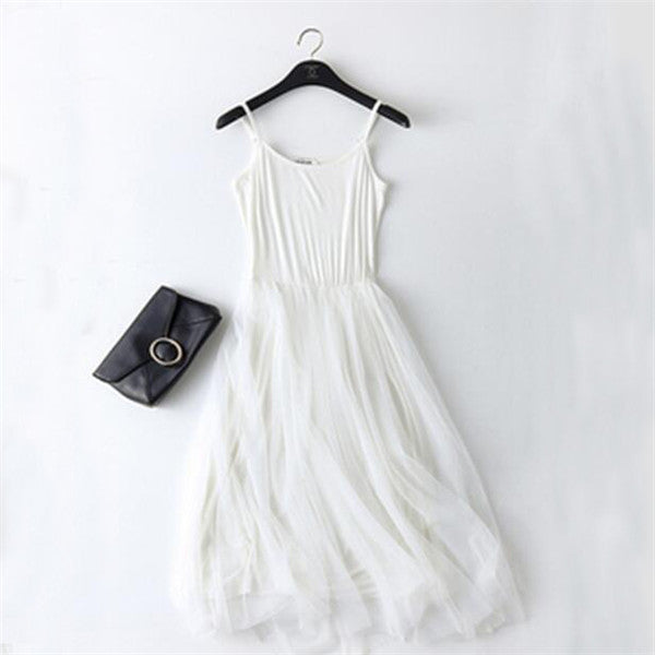 New Sexy Strap Patchwork Mesh Dress Spring Summer Women Lace Tank Dress Basic Sundress Party Vestidos
