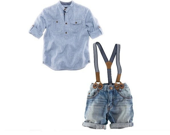 Children suit boy 2 pcs set casual shirt + jeans with braces gentleman baby clothing set retail DT0071