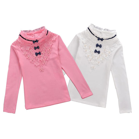 Children Clothing Girls Turtleneck Blouse  Spring Autumn Bow Lace Shirt Cotton Long Sleeve Sweatshirts School Kids Clothes