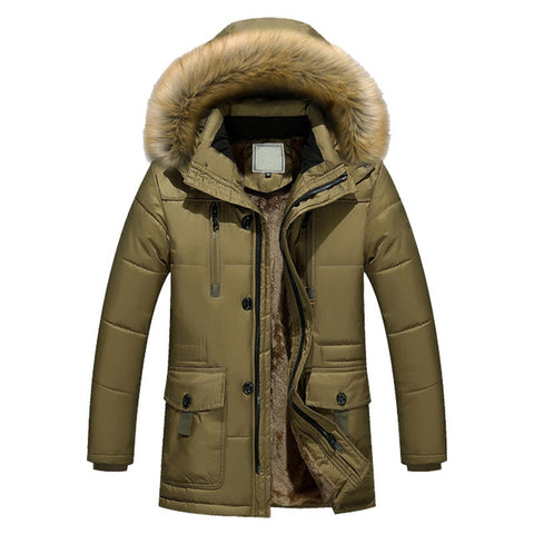 Parkas Men Brand Clothing Fashion Winter Jacket Men Thermal Hooded Thicken Coat Casual Men Fur Hood Army Military Jacket Warm