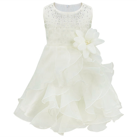 8 Color Infantil Baby Girls Wedding Dress Baptism Christening Gown Pageant Dress With Pearls Toddler Kids Princess Party Clothes