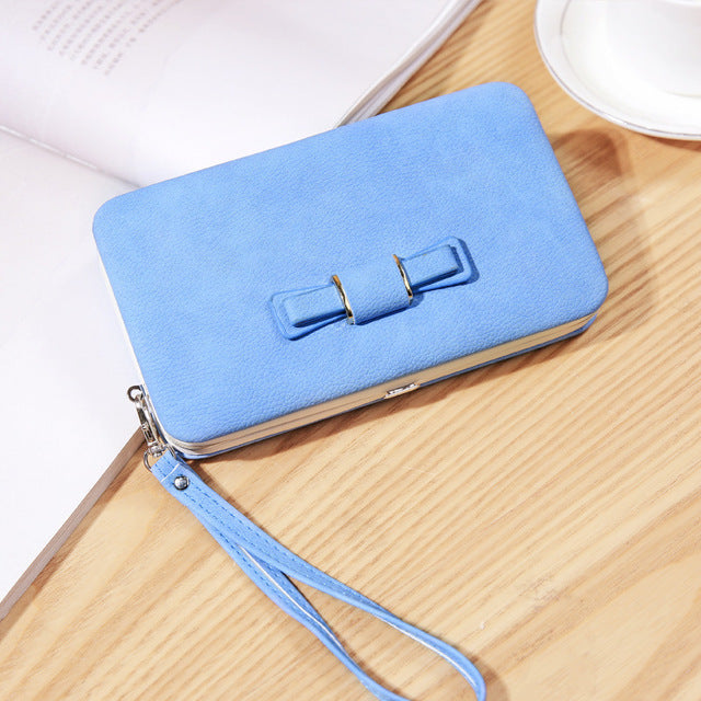 Women clutch purse wallet bags female card holders cellphone pocket gifts for girl money cartoon bow-tie bag