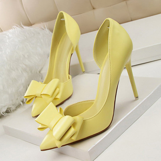 Women shoes high heel 2018 fashion sweet bowknot shoes woman Pumps side hollow pointed shallow mouth women pumps tenis feminino