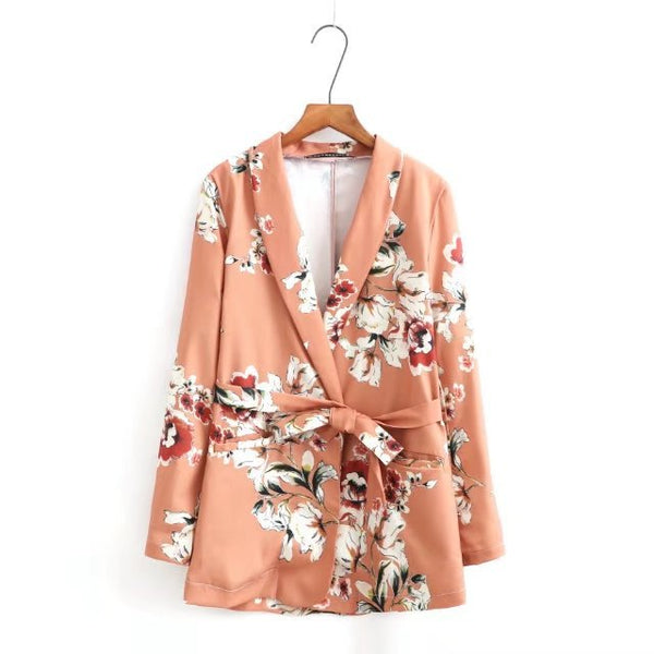 New V-neck Long Sleeves Front Pockets Floral Print Blazer With Contrasting Belt & Cuffs With Golden Buttons