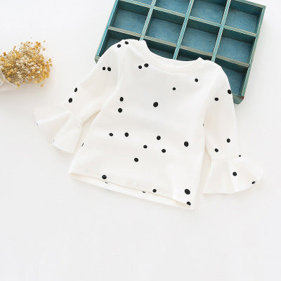 cotton girls princess t shirts dots design with ruffles sleeves basic shirts for 1-4 years kids baby girl cute clothes