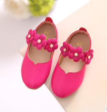 Children shoes PU Leather Flower Princess toddler Girls Shoes Kids Soft Single flats Dance Shoes school kids cute sandals