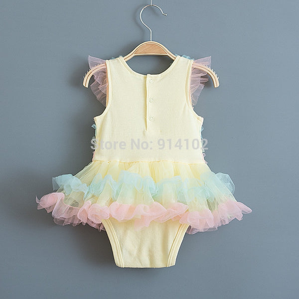 Rainbow Stripes Baby Girl Dress Summer Lace Kids Baptism Birthday Dress Princess Girls Clothing Infatn Dresses Vestido