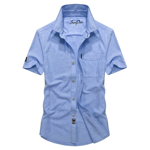 Men's summer business casual brand sky blue short sleeve shirt man oxford cotton dark blue shirts male pink tops