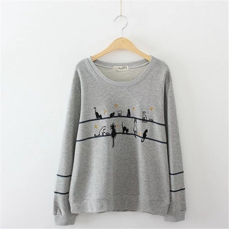 Women Cat Embroidery Gray White Hoodies long sleeve Preppy Style warm winter pullover O-neck Casual tops