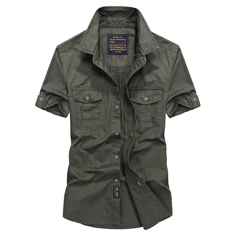 High quality men summer military casual brand 100% cotton khaki short sleeve shirt man afs jeep blue shirts army green tops
