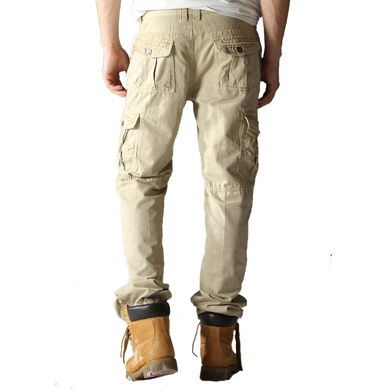 UUYUK Men Multicolor Plus Size Outdoor Loose Multi-Pockets Military Tactical Cargo Pants Trousers