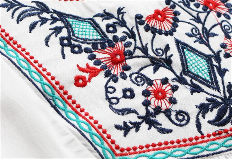 Summer Ethnic Boho Embroidery Blouse Women Short Sleeve Casual Blouses Shirt Plus Size Women Clothing Blusas Mujer De Moda 2018