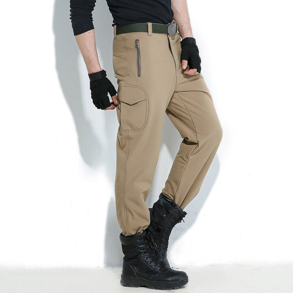 Men Winter Casual Pants Camouflage Skin Softshell Cargo Military Tactical Camo Jogger Male Waterproof Warm Fleece Combat Trouser