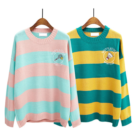 women sweater new winter knitted sweaters cartoon embroidery candy-colored stripes loose pullover jumpers