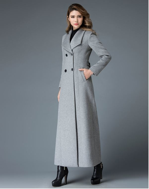 Winter x long wool coat women high-end quality woolen overcoat stand collar Double button classic design