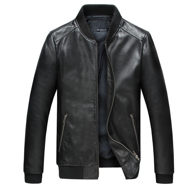 Factory Men Genuine Leather Coats Real Sheep skin Brand Black Male Bomber Motorcycle Biker Man's Coat Autumn Spring