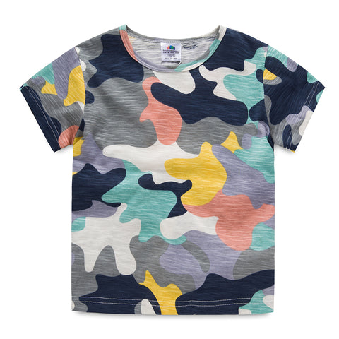 Summer Baby Boys T Shirt Camouflage Print Cotton Tops Tees T Shirt For Boys Kids Children Army Outwear Clothes Tops 5395