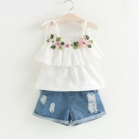 Fashion Girls Clothing Set Summer Baby Girls Clothes White Jacket Flower Decoration+Denim Shorts Children Clothes