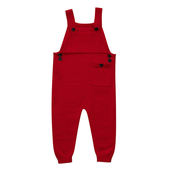 Newborn Toddler Kids Baby Boys Girls Knitted Overalls Strap Rompers Jumpsuit Outfits Sleeveless Pocket Baby Boy Girl Rompers
