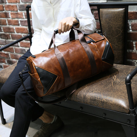 Brand Retro Brown Bucket Travel Bags Large Crazy Horse PU Leather Handbags Shoulder Bag Men Business Luggage Bag