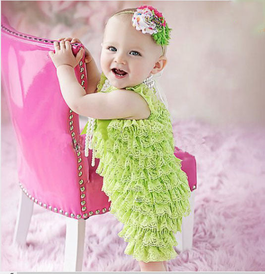 Baby Lace Romper Infant Girls Boys Posh Petti Ruffles Corset Romper with Straps and Ribbon Bow Kids Jumpsuit 3size 1Pcs