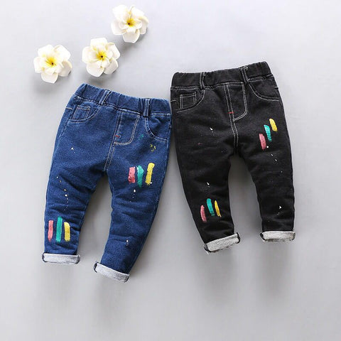 Newborn Baby Boy Girl Pants Spring Autumn Korean Casual Solid Middle Elastic Waist Jeans Clothing Children Trousers 4j007