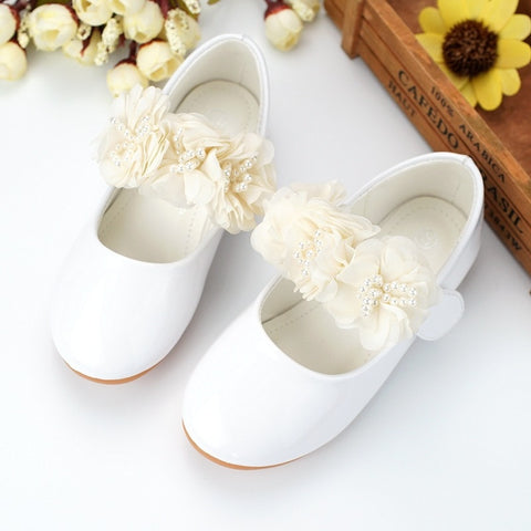 Sweet Girls New Design Kids Flower Princess Shoes Microfiber Leather Shoes Handmade Bead Flower Children Shoes Causual Shoe