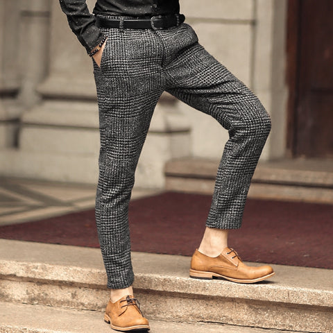 High Quality New Men's Fashion Winter&Spring skinny pants Men Solid Color woolen Suit Pants Men Business Formal Casual Trousers