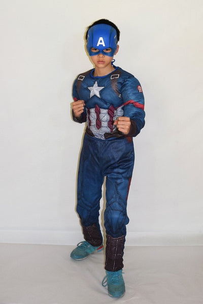 Child Avengers Captain America Muscle Costume disfraces halloween superhero cosplay 2pcs Outfit