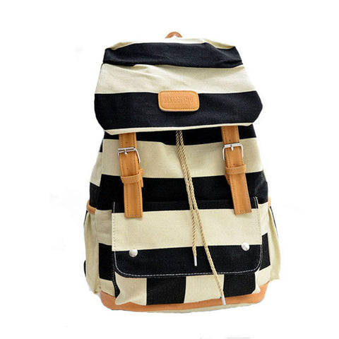 Women Girl Striped Canvas Backpack Leisure Hot School Backpack For Teenagers Travel Rucksack Campus Leisure Bag
