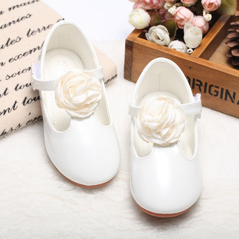 3 Colors Children Girls Shoes New Korea Single Shoes Girls Princess Leather Shoes with Big Flower Kids Casual shoes