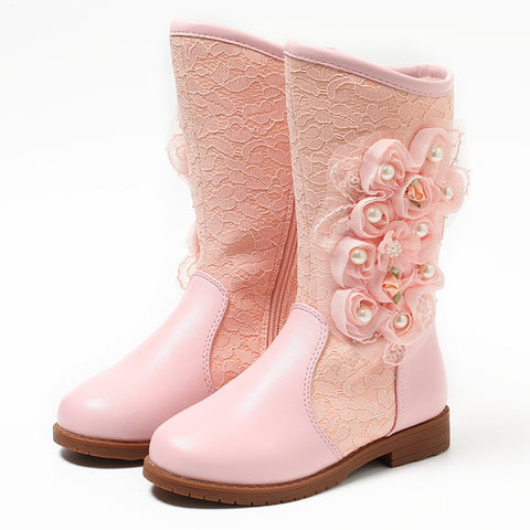 New Fashions Girls Princess Winter Boots Leg Long Kids Snow Boots Soft Warm Children Shoes Pink&White Color with Plush