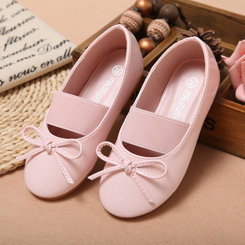 New Autumn Children Princess Shoes Pink/White/Black Band Soft Sole Patent Leather Fashion Bowknot  Flower Girls Dress Shoes