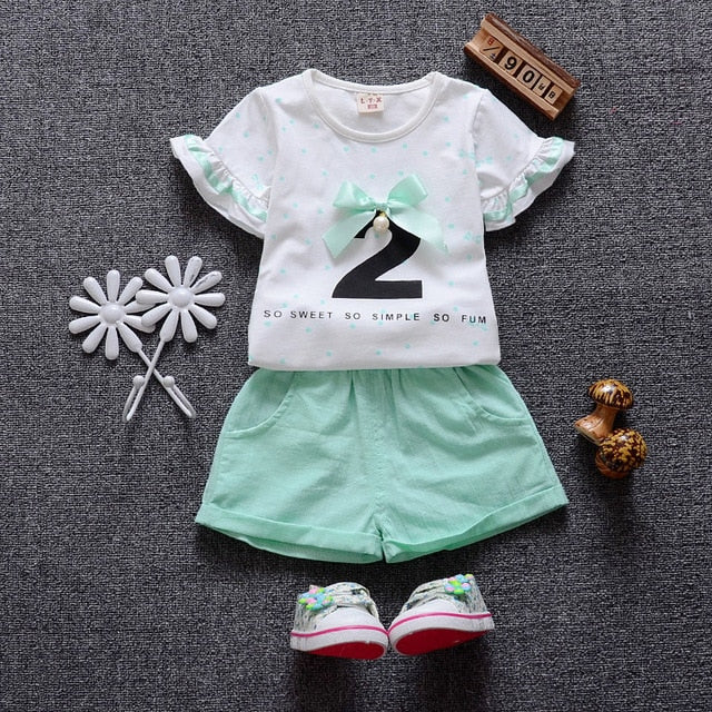 66cdb813b Summer Style Baby Girls Clothes Cotton Baby s Sets (T-Shirts+Shorts ...